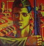 «Мой дед Василий (на картине изображен мой дедушка- Василий Алексеевич Фокин, который в 1941 году ушел на фронт)»